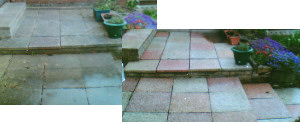 Block paving cleaned - before and after.
