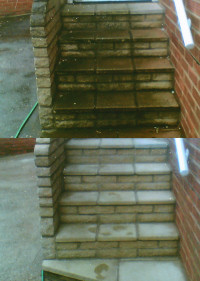 Steps cleaned before and after.
